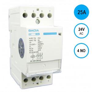 GACIA HC-2540a Inst.relais 25A/4NO/24VAC