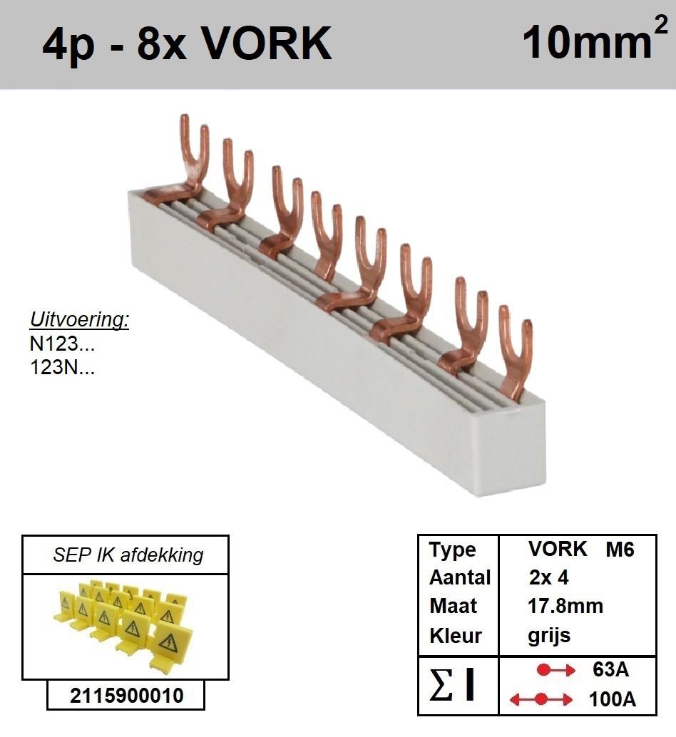 Schotman Elektro - SEP aansluitrail VORK 2x4 aansluitingen 17.8mm