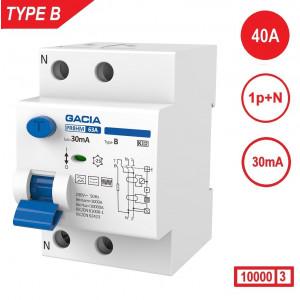 GACIA aardlekschakelaar Type B, 40Amp, 30mA, 2 polig, 10kA