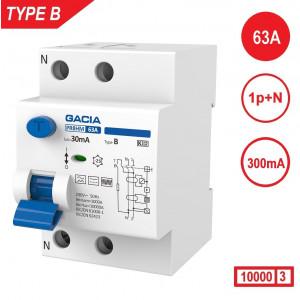 Gacia aardlekschakelaar type B 63Amp 300mA 1p+n