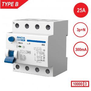 GACIA aardlekschakelaar 3p+n 25A 300mA type B