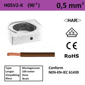Schotman Elektro - SEP montagesnoer H05V2-k bruin 0,5mm2