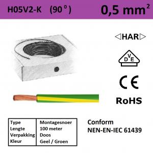 Schotman Elektro - SEP montagesnoer H05V2-k geel/groen 0,5mm2