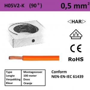 Schotman Elektro - SEP montagesnoer H05V2-k oranje 0,5mm2