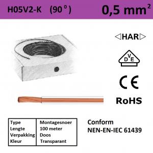 Schotman Elektro - SEP montagesnoer H05V2-k transparant 0,5mm2