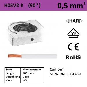 Schotman Elektro - SEP montagesnoer H05V2-k wit 0,5mm2