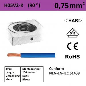 Schotman Elektro - SEP montagesnoer H05V2-k blauw 0,75mm