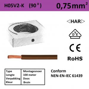Schotman Elektro - SEP montagesnoer H05V2-k bruin 0,75mm