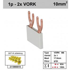 Schotman Elektro - SEP aansluitrail VORK-M6 2x1 aansluitingen 17.8mm
