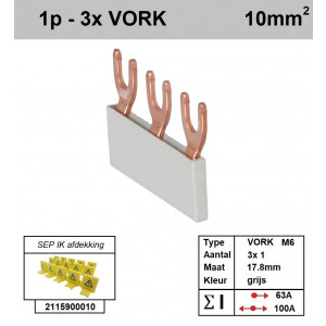 Schotman Elektro - SEP aansluitrail VORK-M6 3x1 aansluitingen 17.8mm