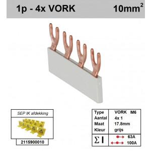 Schotman Elektro - SEP aansluitrail VORK-M6 4x1 aansluitingen 17.8mm