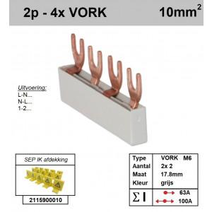Schotman Elektro - SEP aansluitrail 2 fase VORK 2x2 aansluitingen 17.8mm
