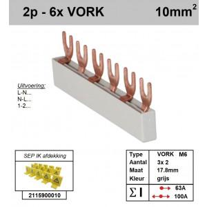 Schotman Elektro - SEP aansluitrail 2 fase VORK 3x2 aansluitingen 17.8mm