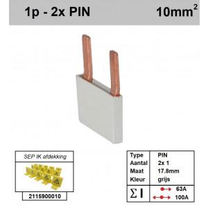 Schotman Elektro - SEP aansluitrail PIN 2x1 aansluitingen 17.8mm