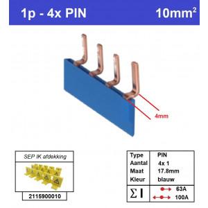 Schotman Elektro - SEP aansluitrail PIN gebogen 4x1 aansluitingen 17.8mm